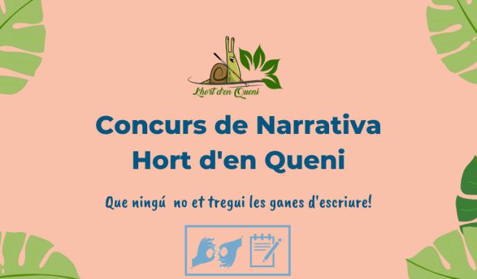 Cartell del Concurs de Narrativa Accessible Hort d'en Queni Font: APSOCECAT