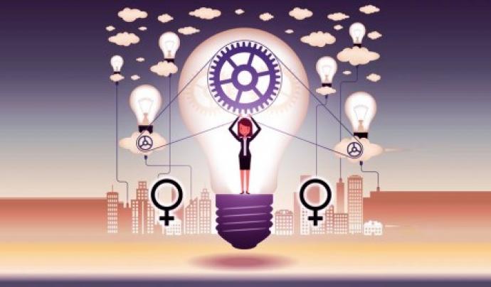 Il·lustració que mostra una dona envoltada de bombetes, eines, núvols, etc.