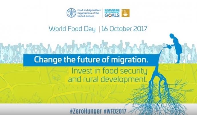 """""""Canviar el futur de la migració. Invertir en seguretat alimentària i desenvolupament rural"""", tema del 2017. Font: Youtube"""