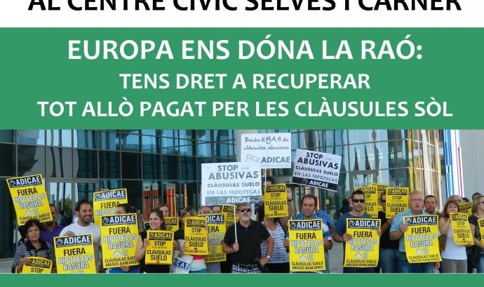 Assemblea de la plataforma d'afectats de clàusules terra a Manresa