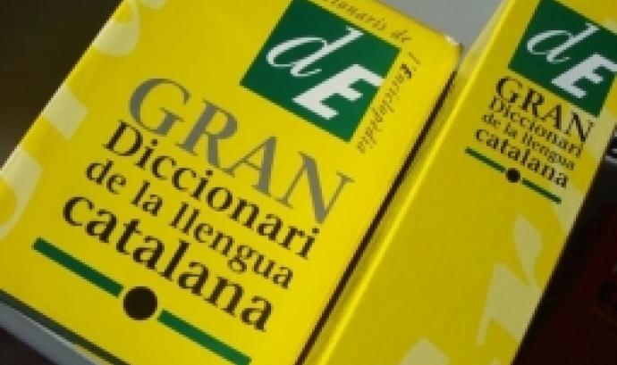 Fotografia de dos exemplars del Gran Diccionari de la Llengua Catalana. Imatge de Javier Leiva. Llicència d'ús CC BY-NC-ND 2.0