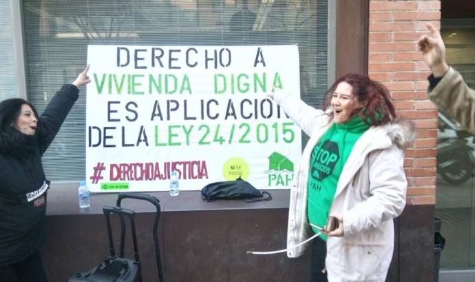 Acció realitzada fa uns mesos per reclamar la recuperació de la Llei 24/2015.