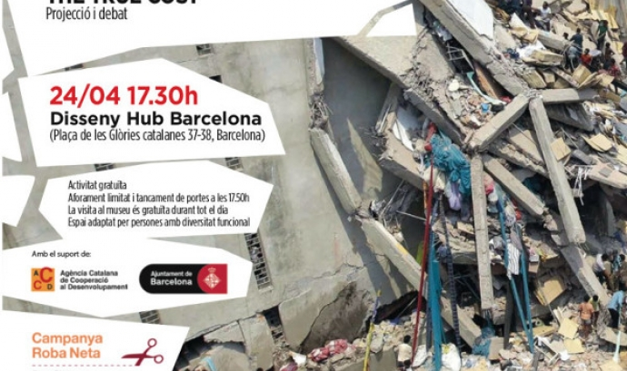 Cartell de l'acte commemoratiu del 3er aniversari de la tragèdia a Rana Plaz Font: Campanya Roba Netaa.