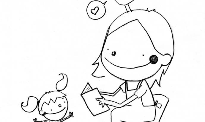 Dibuix de Joan Turu on es veu una mestra explicant una història a un infant.