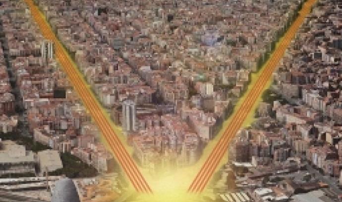 Recreació del mosaic que formarà la V humana