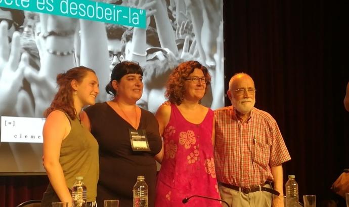 Aitana Ralda, Yolanda Fresnillo, Liz Castro i Arcadi Oliveres a la presentació de l'audiosèrie Font: Aixeta.cat
