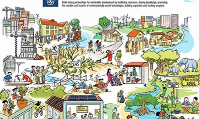 L'ODS 17 se centra a promoure les aliances i cooperacions entre tots els actors socials, com a element intrínsec amb la Sostenibilitat Font: UNEP