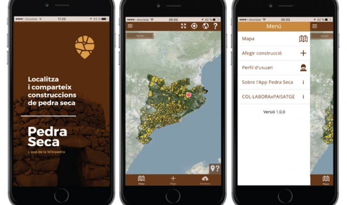 Una eina col·laborativa per ajudar a catalogar les construccions ens pedra seca Font: Pedra Seca Adrinoc Apps