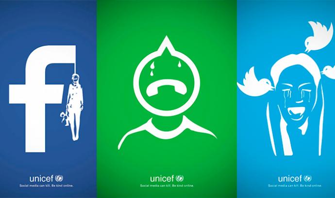 Campanya d'UNICEF de ciberassetjament a les xarxes socials. Font: UNICEF