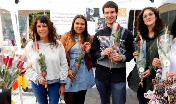 Les roses i punts de llibre de Fundació Comtal estaran disponibles a la parada muntada davant del mercat de Santa Caterina de Barcelona. Font: Fundació Comtal