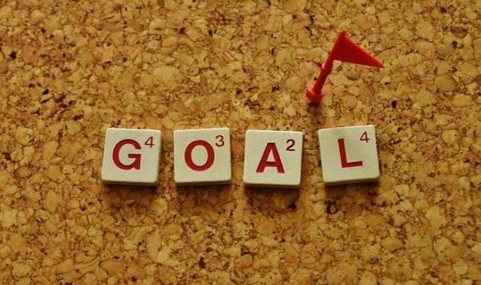 """""""Goal"""" escrit amb peces de l'Scrabble"""
