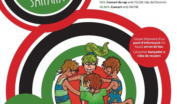 Cartell informatiu sobre la Trobada d'infants sahrauís acollits a Catalunya aquest estiu.