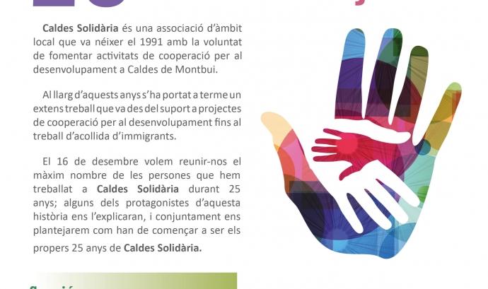 Cartell de la trobada del divendres 16 de desembre. Font: Caldes Solidària