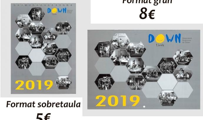 Pots adquirir el calendari gran per 8€ o el format de sobretaula per 5€. Font: Down Lleida.