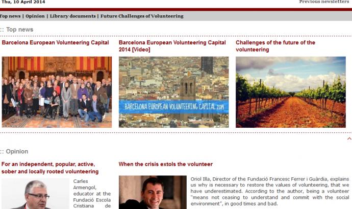 Neix el butlletí en anglès sobre voluntariat de Xarxanet.org.  Font: