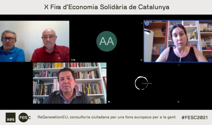 """""""ReGenerationEu, consultoria ciutadana per uns fons europeus per a la gent"""", la xerrada virtual a la FESC on s'ha presentat l'eina. Font: FESC"""