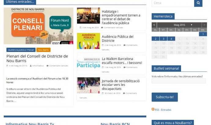 Nou aspecte del portal d'entitats del districte de Nou Barris Font: