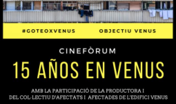 """Imatge del cartell del cinefòrum sobre el documental """"15 años en Venus"""""""