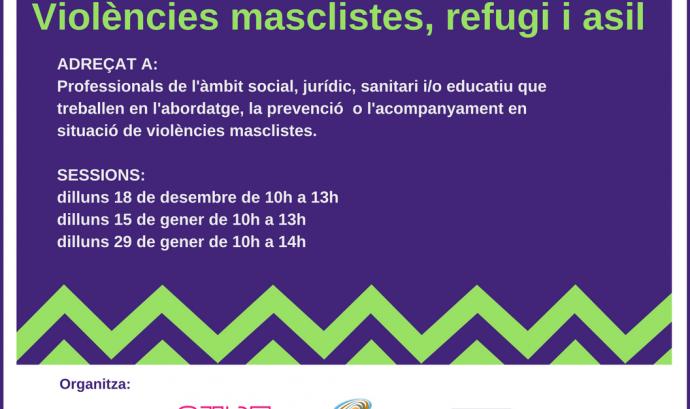 """Cartell del curs """"Violències masclistes, refugi i asil"""""""