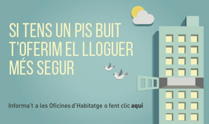Cartell de propaganda del programa pisos buits. Font: web barcelona.cat Font: