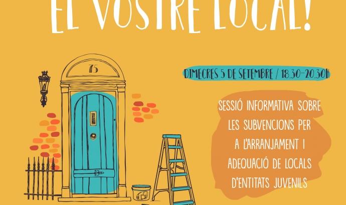 Cartell de la sessió informativa per a entitats juvenils sobre l'arranjament i adequació de locals. Formació organitzada pel CRAJ.