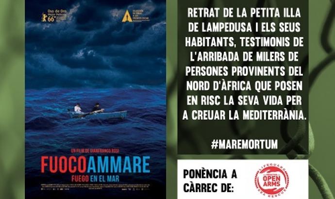 Cartell de promoció del documental 'Fuocoammare' del Cicle de Cinema Documental que organitza la FAS.
