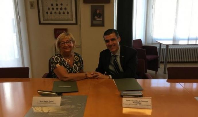 Acte de signatura del conveni entre el Consell de l'Advocacia Catalana i la Confederació Catalana de Persones amb Discapacitat Física i Orgànica (Cocemfe).