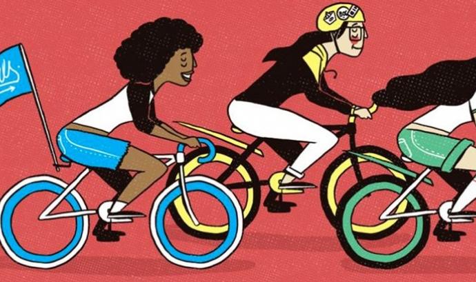 Il·lustració de dones en bicicleta, un transport sostenible