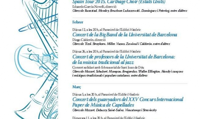 Cartell del Cicle de Música a la Universitat de la UB