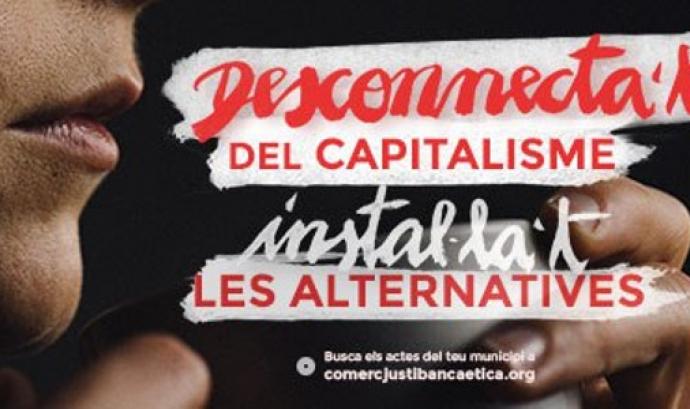 Imatge de l'espot 'Desconnecta't del capitalisme, instal·lat les alternatives'. Font: Som Comerç Just i Banca Ètica Font: