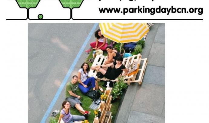 Imatges de la passada edició del Park(ing) day a Barcelona (imatge: parkingday barcelona) Font: