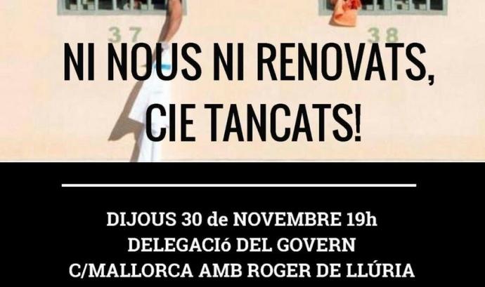 Cartell de la mobilització del 30 de novembre. Font: Tanquem els CIEs