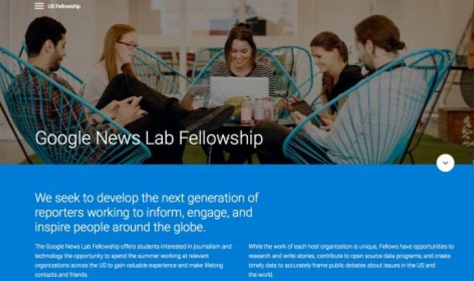 Difusió de la iniciativa al web de Google News Lab Font: