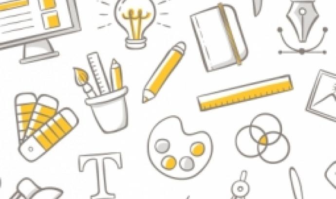 Il·lustració que representa les diferents eines que utilitzen els dissenyadors gràfics.