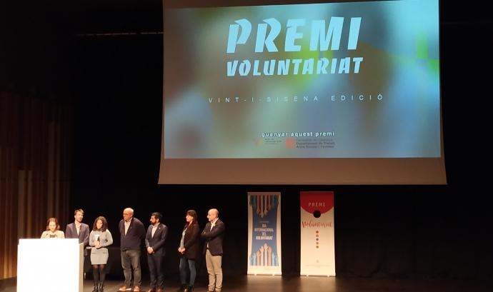 La Fundació Espigoladors recollint el Premi Voluntariat 2019. Font: Josep Carbonell