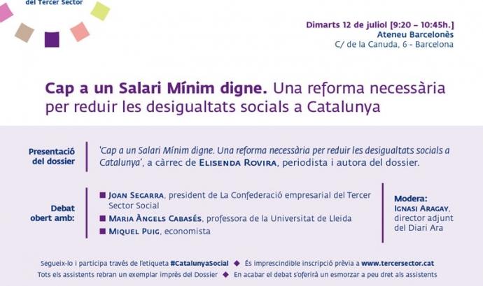 Debat Cap a un Salari Mínim digne.  Una reforma necessària per reduir les desigualtats socials a Catalunya