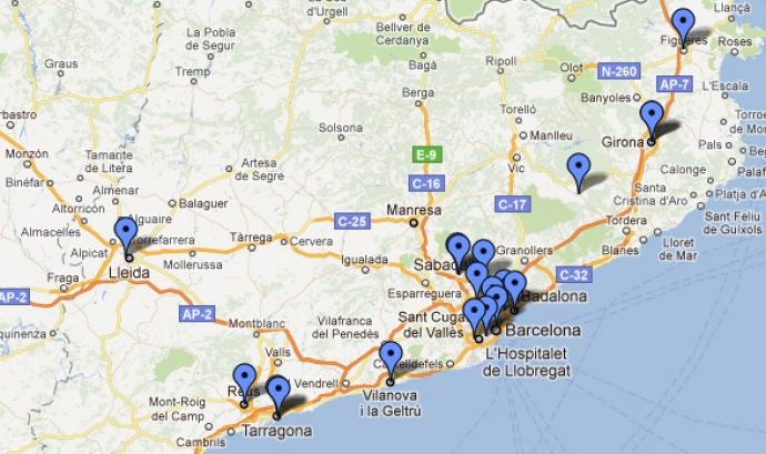 Mapa d'oficines de voluntariat de Catalunya Font: