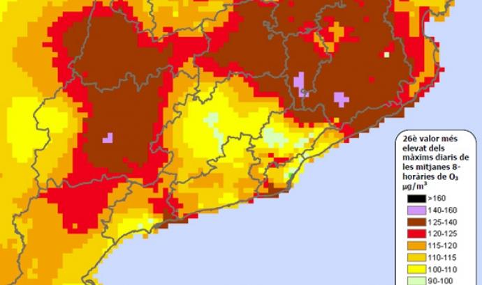 Mapa de la contaminació per ozó a Catalunya