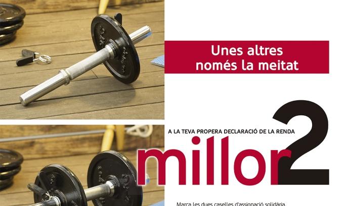 Cartell de la campanya de Càritas per animar a la ciutadania a marcar les dues caselles de la declaració de la renda Font: Càritas