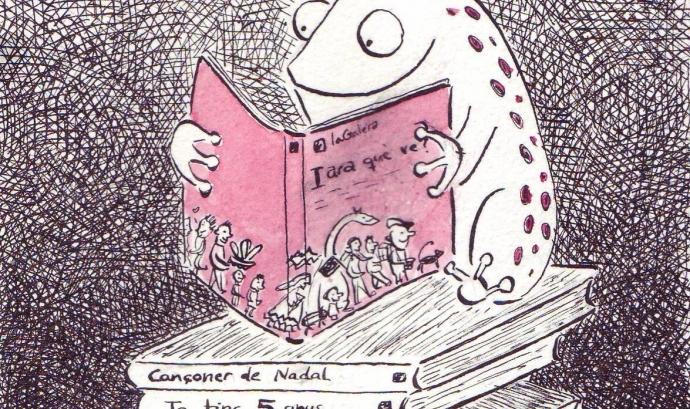 Granota llegint . Il·lust. Noe Bofarull Font: