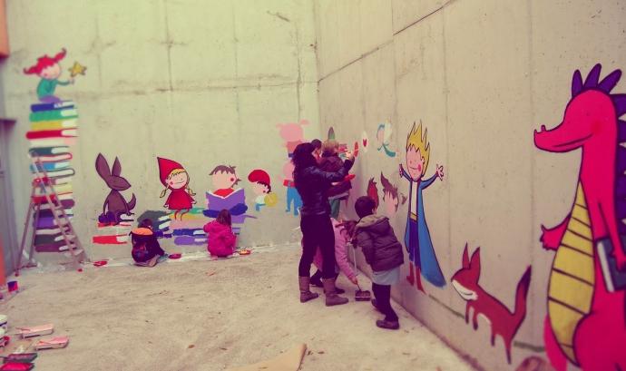 Mural a l'Escola Ponent de Terrassa. Foto de Joan Turu (joanturu.blogspot.com)
