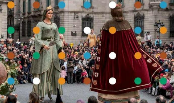 Els gegants a la plaça de Sant Jaume de Barcelona