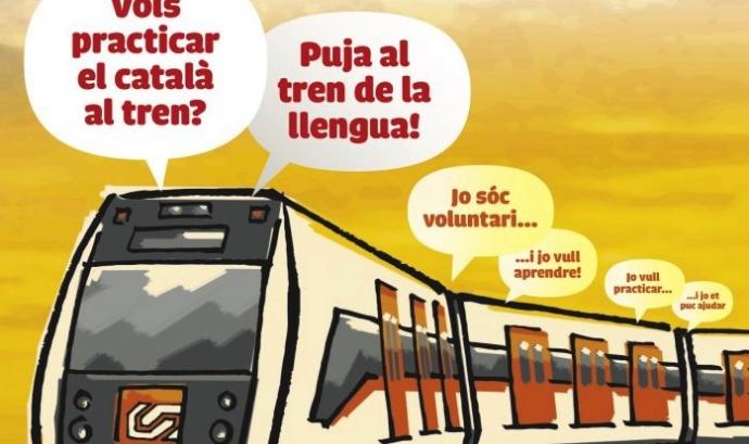 """La iniciativa """"El Tren de la llengua"""" promou les parelles lingüístiques als trens Font: Plataforma per la Llengua"""