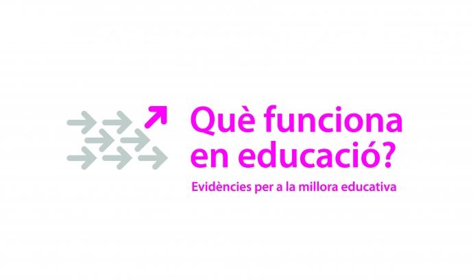 """Logo de la iniciativa """"Què funciona en educació?"""" d'Ivàlua i la Fundació Jaume Bofill"""