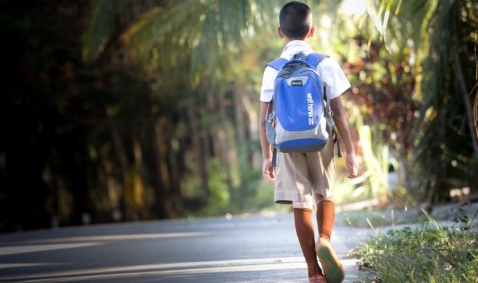 Nen d'esquena amb motxilla caminant Font: Pixabay