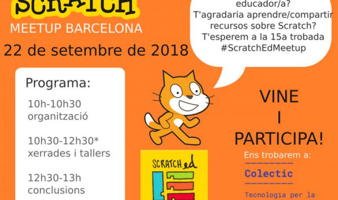 Cartell de la 15a Trobada ScratchEd Meetup Barcelona