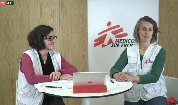 Silvia Álvarez i Montserrat Bartui (Metges Sense Fronteres) Font: Captura del webinar de MSF