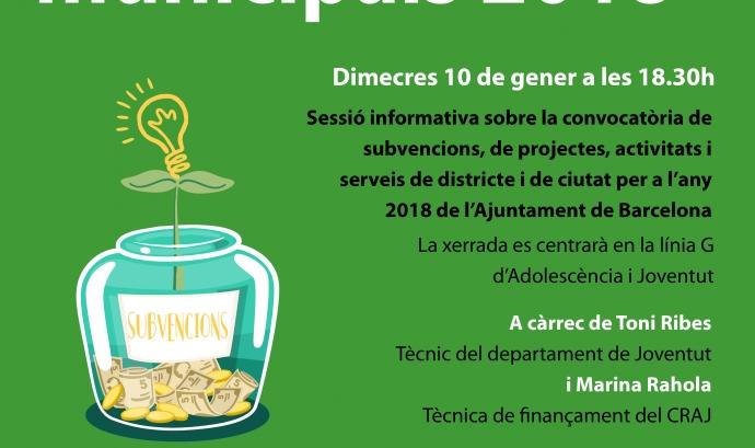 Cartell de la  Sessió informativa sobre les Subvencions municipals 2018 de l'Ajuntament de Barcelona