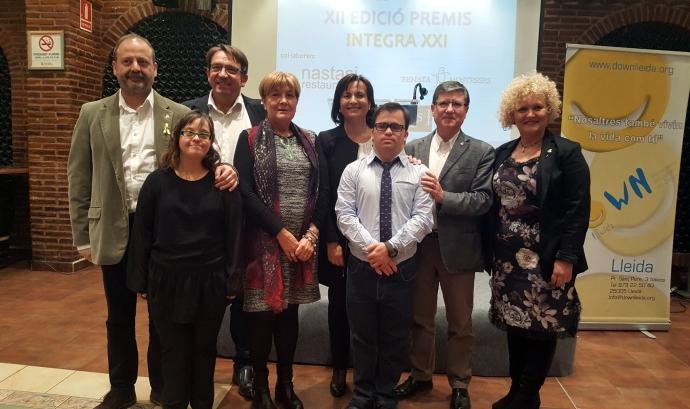 """Lliurament dels premis a la darrera edició premis """"INTEGRA XXI"""". Font: Down Lleida"""