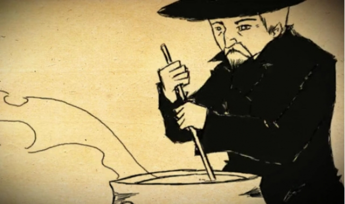 Dibuix d'un home remenant una cassola